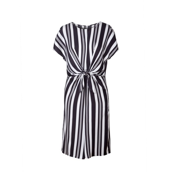Striped Printing Short Sleeve Silk Dress
