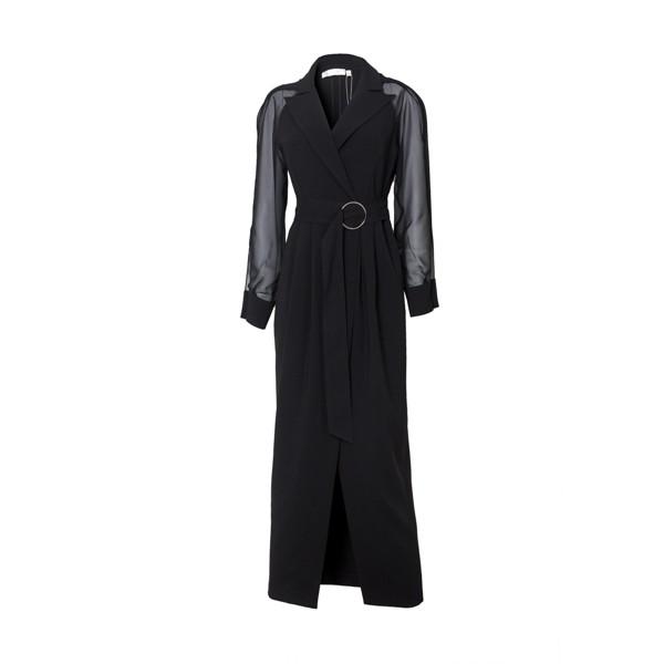 Navy Long Sleeve Silk Dress