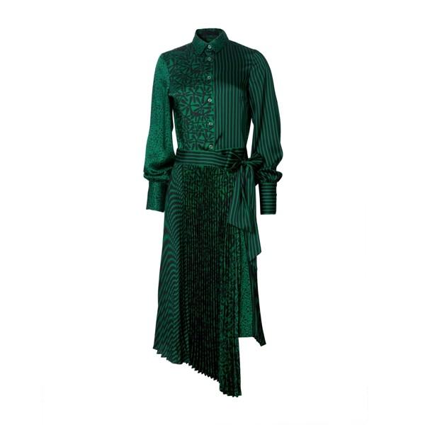 Langærmet polyester kjole