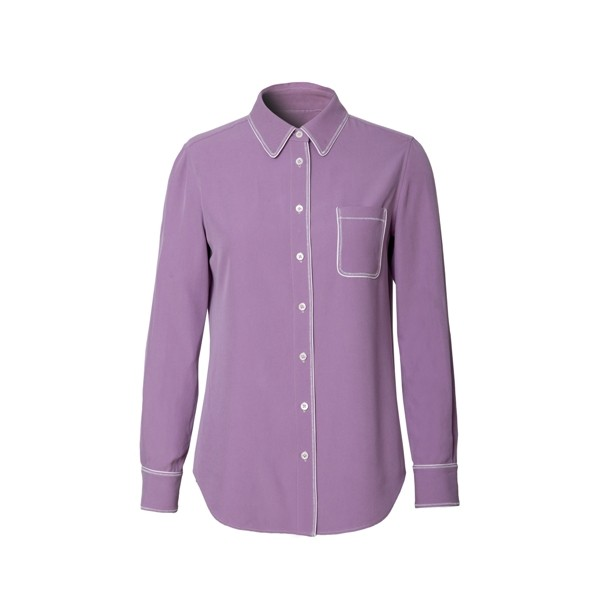 Purple Long Sleeve Silk Shirt