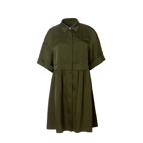 Olive Long Sleeve Silk Shirt