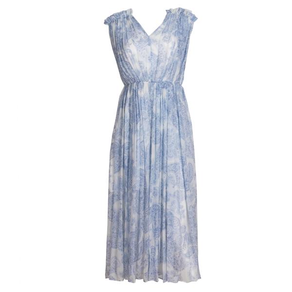 Light Blue Printing Silk Dress
