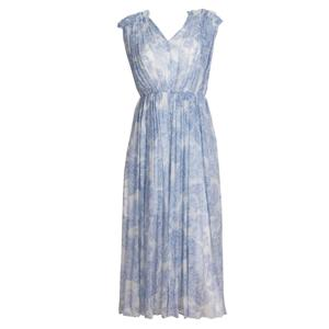 Light Blue Printing Silk Dress