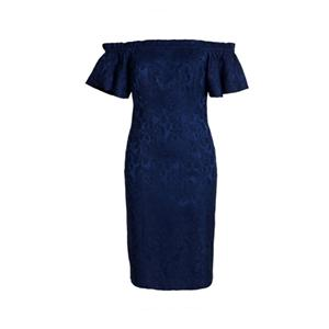 Navy Jacquard Silk Dress