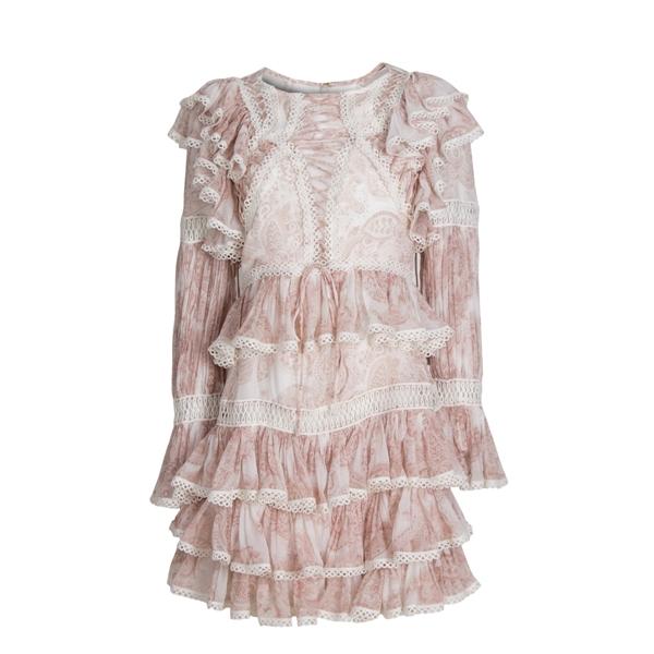 Light Pink Printing Silk Dress
