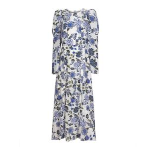 Blue Printing Silk Dress