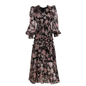 Black Printing Silk Dress