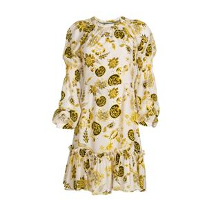 Yellow Printing Silk Dress