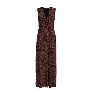 Black Printing Sleeveless Silk Dress