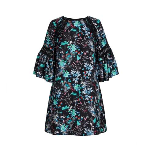 Black Printing Long Sleeve Silk Dress