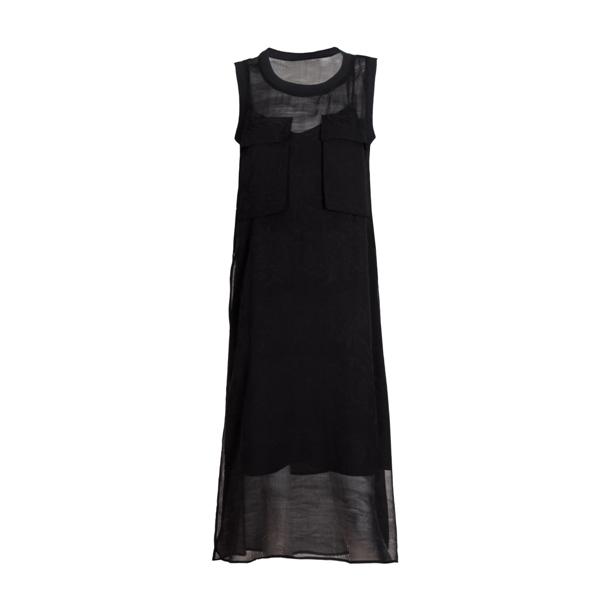 Black Jacquard Silk Dress