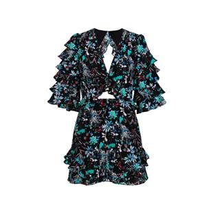 Black Printing Short Sleeve Silk Dress