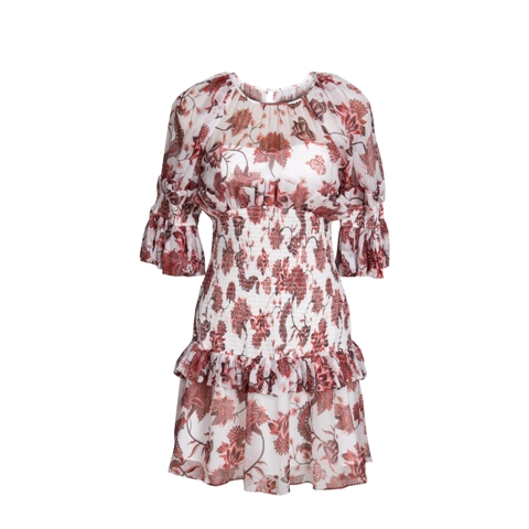 Brown Printing Short Sleeve Silk Dress Manufacturers, Brown Printing Short Sleeve Silk Dress Factory, Supply Brown Printing Short Sleeve Silk Dress