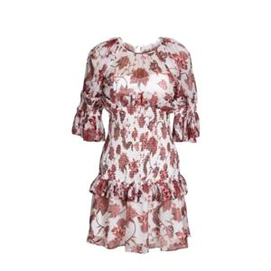 Brown Printing Short Sleeve Silk Dress
