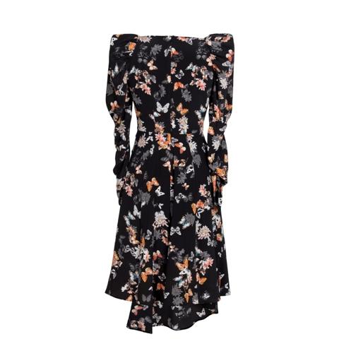 Black Butterfiy Printing Silk Dress Manufacturers, Black Butterfiy Printing Silk Dress Factory, Supply Black Butterfiy Printing Silk Dress