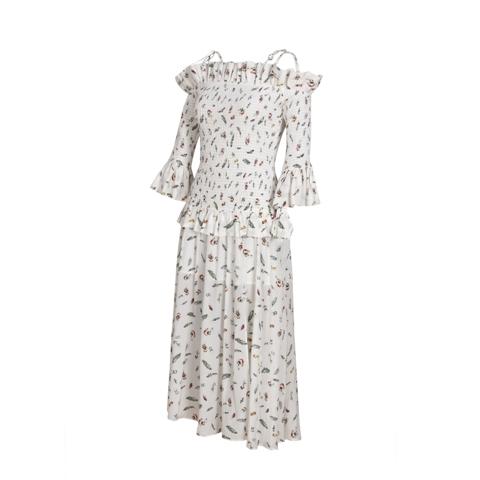 White Feather Printing Silk Dress Manufacturers, White Feather Printing Silk Dress Factory, Supply White Feather Printing Silk Dress
