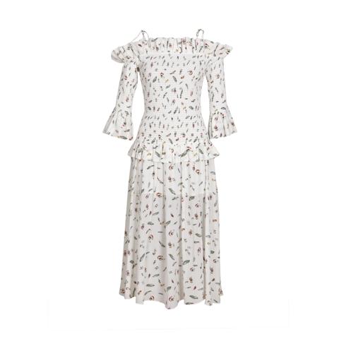 White Feather Printing Silk Dress