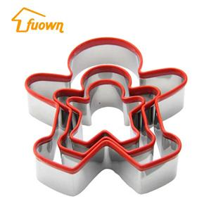 Gingerbread Boy Shape Stainless Steel Biscuit Cutter Set of 3 With Silicone EDGE