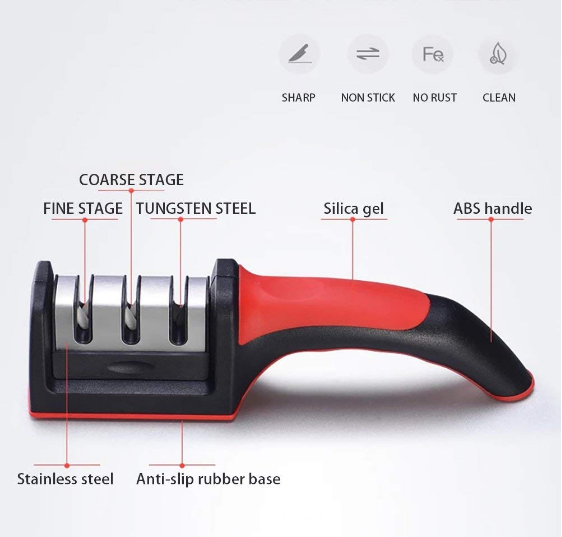 New model 3 Stages Non slip Rubber handle Knife Sharpener Manufacturers, New model 3 Stages Non slip Rubber handle Knife Sharpener Factory, Supply New model 3 Stages Non slip Rubber handle Knife Sharpener