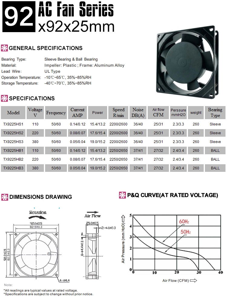 90mm ac cooling fan