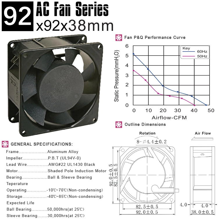 9238 92mm ac fan 220V
