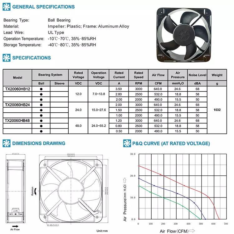 High Performance Fan Dc Brushless Cooling Fan 200x200x60mm