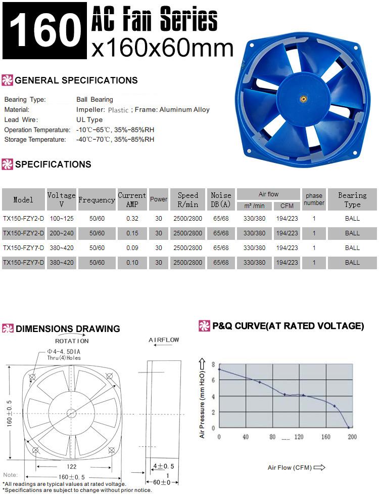 150FZY 110V ac fan