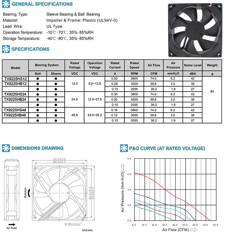 24V 9225 dc brushless cooling fan for air cleaner