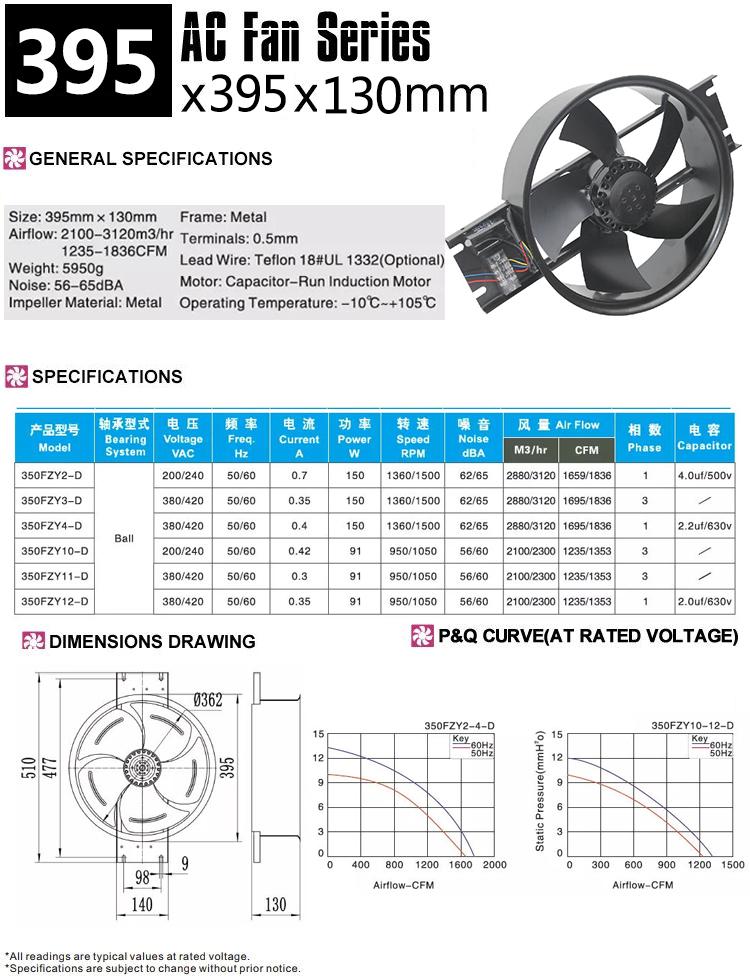 350mm external rotor fan