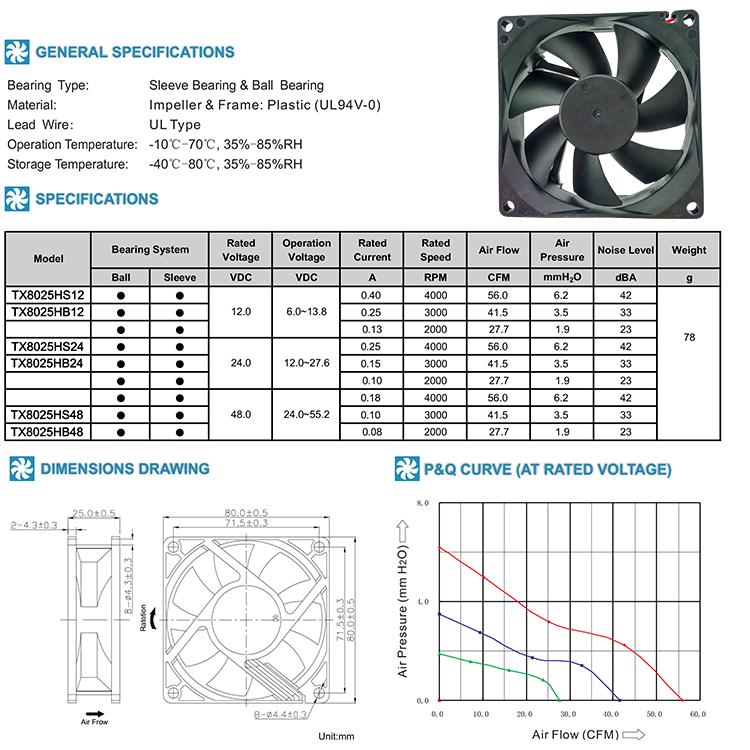 8015mm dc brushless fan
