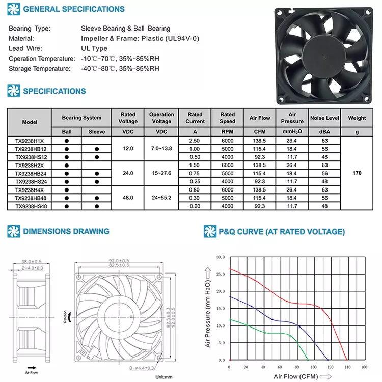 9238mm Dc brushless fan