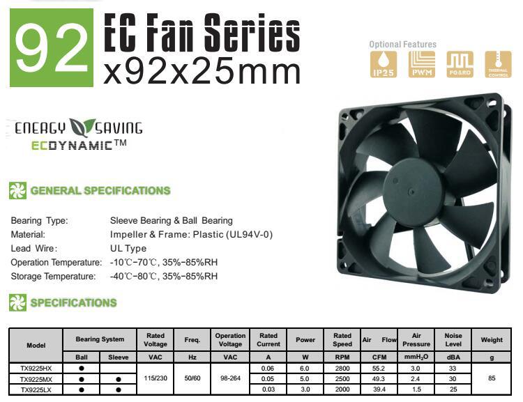 90mm EC cooling fan