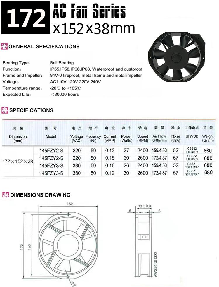 145FZY AC cooling fan