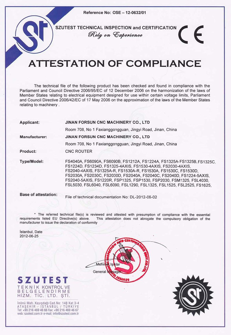 CE Certificate of Beta wood router