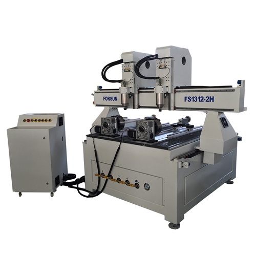 Multi-Head CNC Router With Rotary Axis