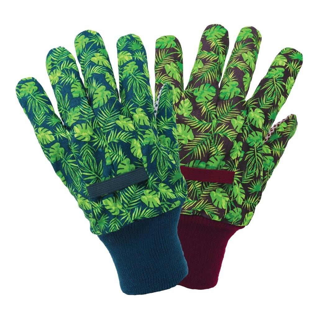 Gants de jardin à imprimé floral tissés Farbic