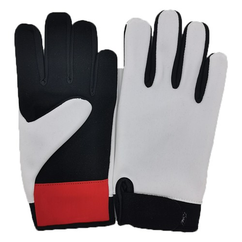 Red and white racing gloves
