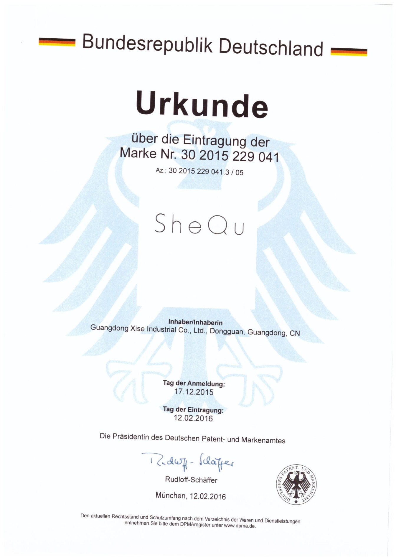 Certificate of Trademark Registration from Germany