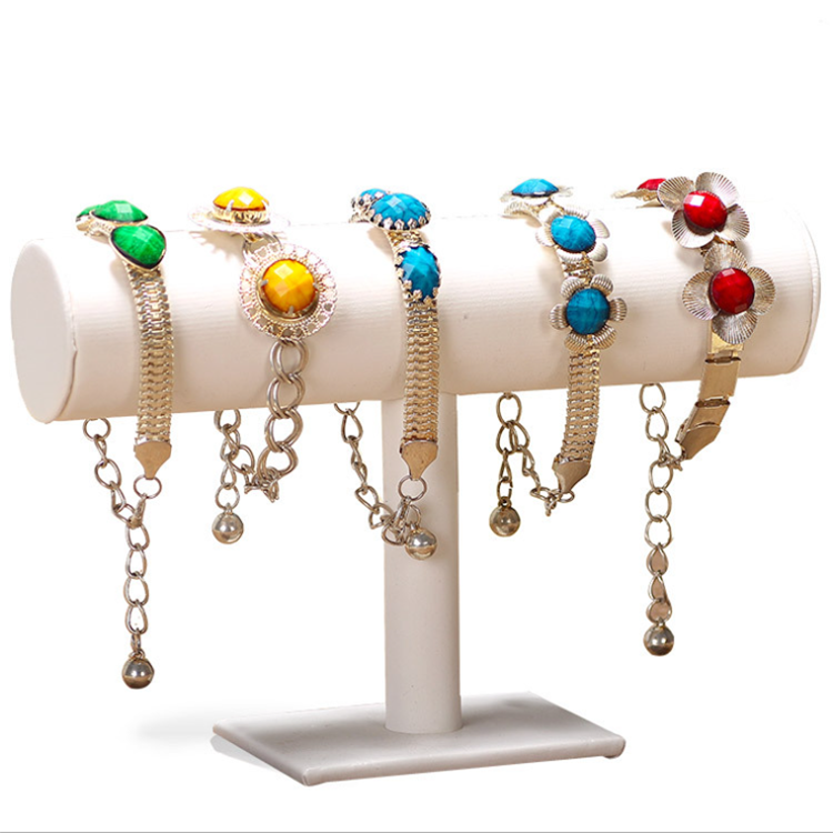 Rotatable Metal Acrylic Jewelry Bracelet Display Stand Ring Set
