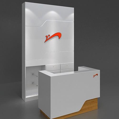 Fashion Reception Desk Modern Customized Isaland Cashier Wrap Display
