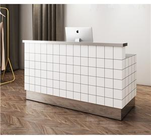 Customize High End Hotel reception Salon Cahsier Counter Design Soild Wood Reception Desk